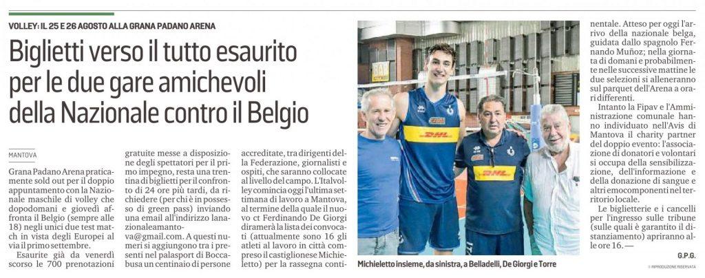 Italia-Belgio amichevole di pallavolo